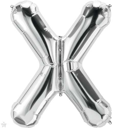 """Northstar 14"""" Letter X Silver Uninflated Mini Shape Balloon"""