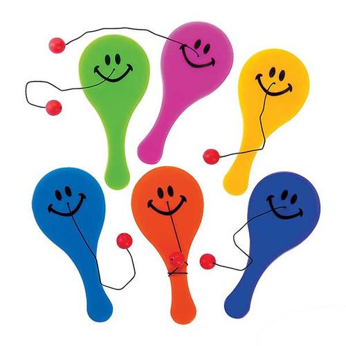 Plastic Mini Smile Face Paddleball Games