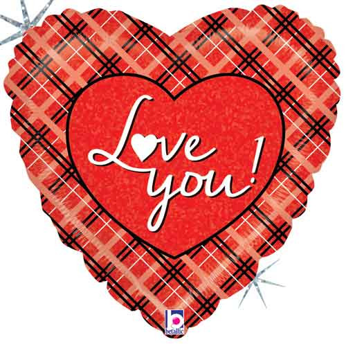"18"" Love You Plaid Heart Balloon"