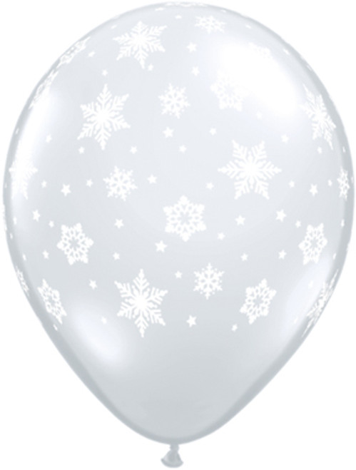 "11"" Snowflakes Clear Latex Balloon"