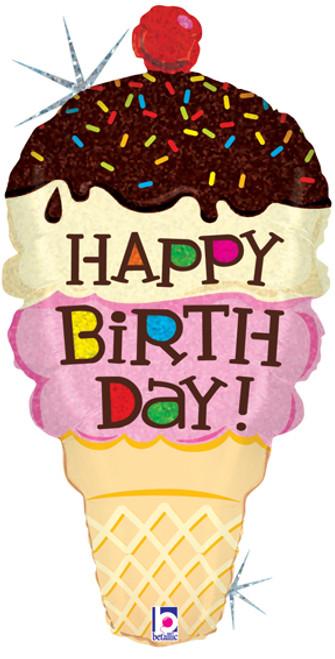 "33"" Birthday Ice Cream Cone Holographic Super Shape Balloon"