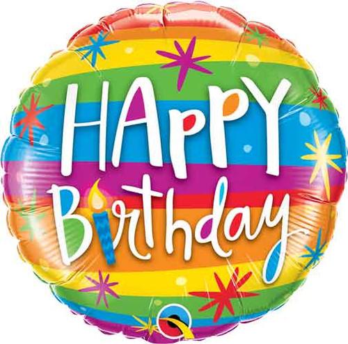 """18"""" Birthday Rainbow Stripes Balloon"""