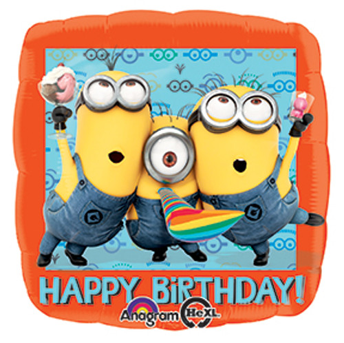 "17"" Despicable Me Happy Birthday Square Balloon"