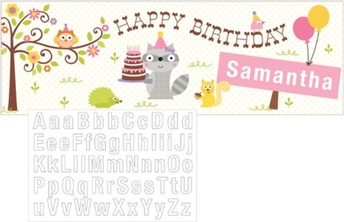 Happi Woodland Girl Giant Party Banner with Stickers