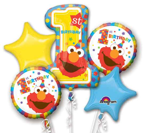 Sesame Street 1st Birthday Elmo Balloon Bouquet