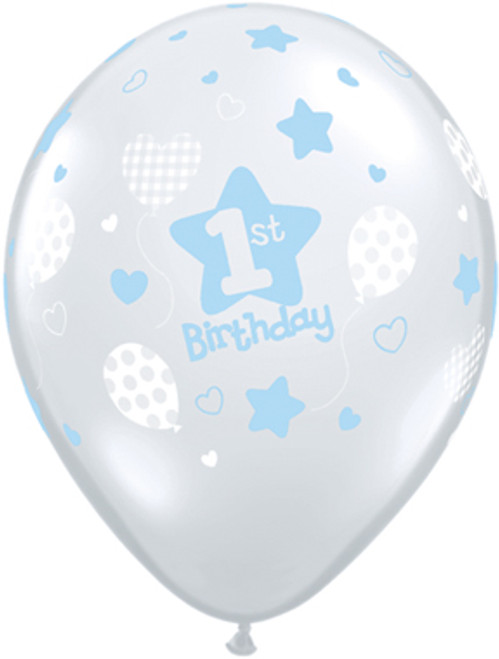 "11"" 1st Birthday Boy Clear Latex Balloon"