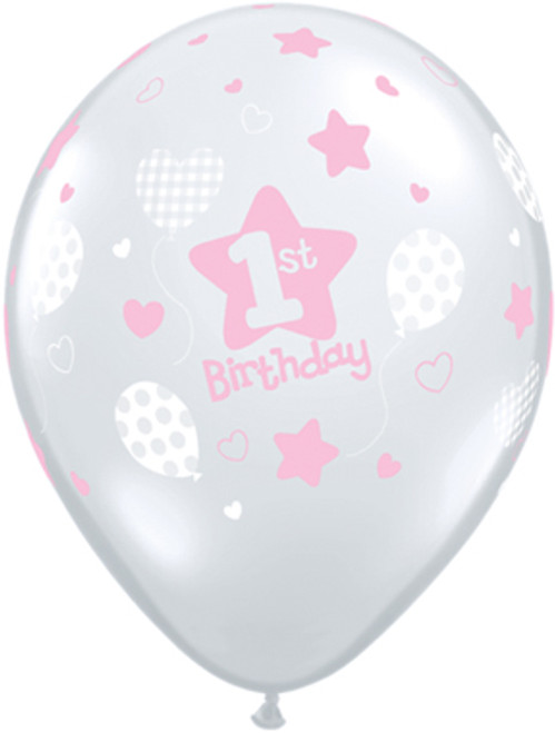 "11"" 1st Birthday Girl Clear Latex Balloon"