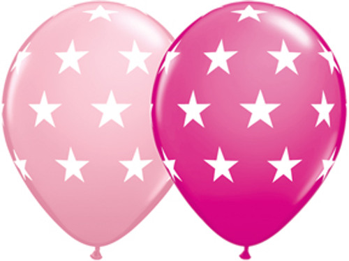 "11"" Big Stars Pink Latex Balloon Assortment"