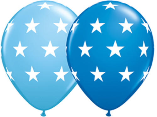"11"" Big Stars Blue Latex Balloon Assortment"