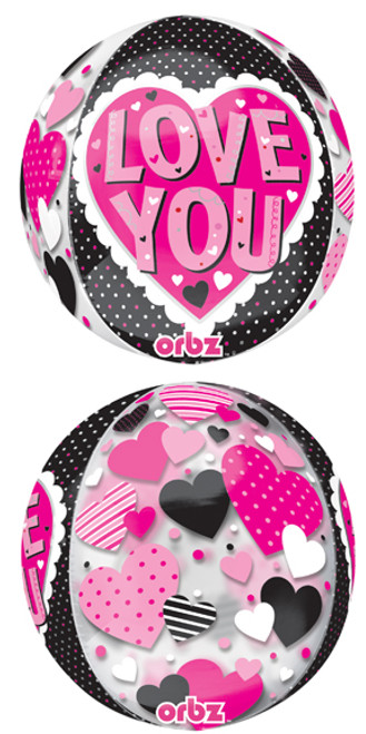 "16"" Love You Black & Pink Orbz Balloon"