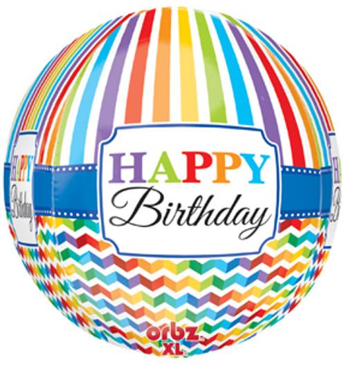 "16"" Birthday Bright Stripe & Chevron Orbz Balloon"