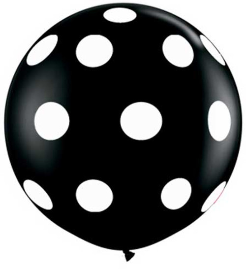 "36"" Polka Dots Black Jumbo Latex Balloon"