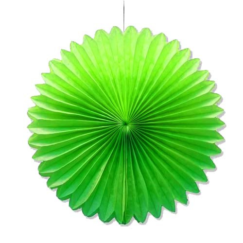 "Lime Green 10"" Tissue Paper Fan"