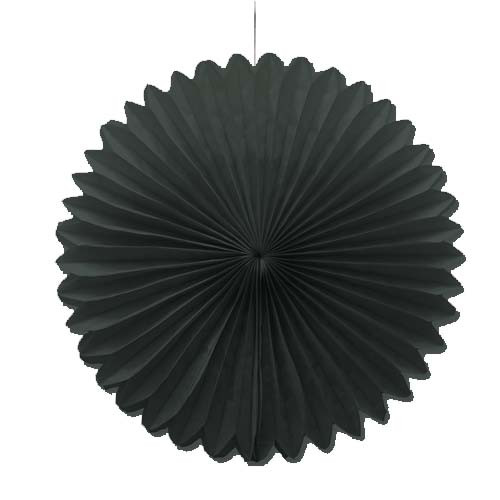 "Black 10"" Tissue Paper Fan"