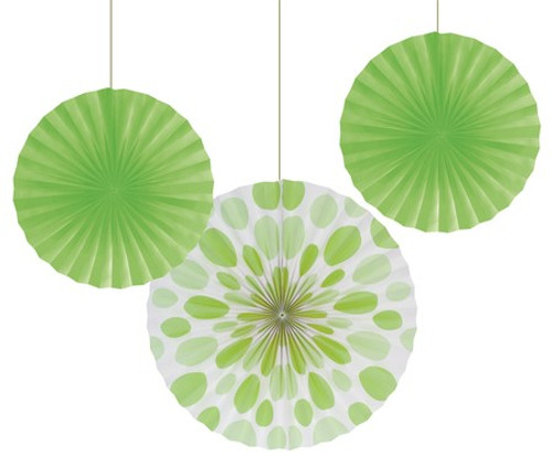 "Lime Green 12"" & 16"" Solid Polka Dot Paper Fans"