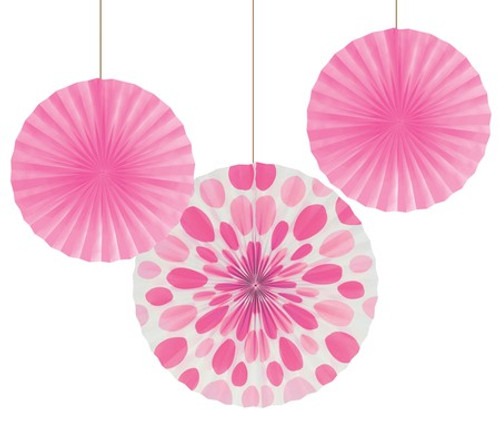 "Candy Pink 12"" & 16"" Solid Polka Dot Paper Fans"