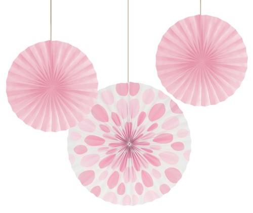 """Pink 12"""" & 16"""" Solid Polka Dot Paper Fans"""