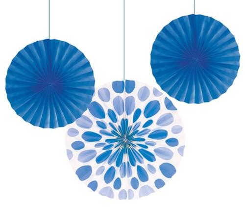 """Blue 12"""" & 16"""" Solid Polka Dot Paper Fans"""