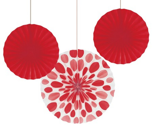 "Red 12"" & 16"" Solid Polka Dot Paper Fans"