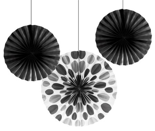 "Black 12"" & 16"" Solid Polka Dot Paper Fans"