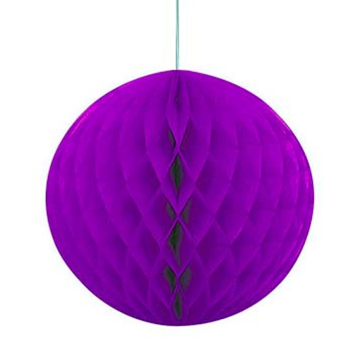 "Purple 8"" Honeycomb Tissue Paper Ball"