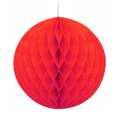 "Red 8"" Honeycomb Tissue Paper Ball"