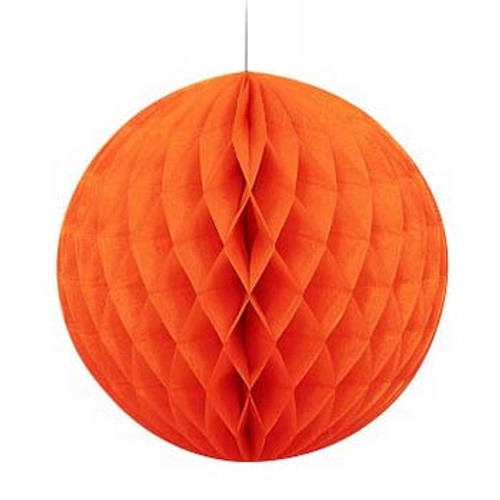 "Orange 8"" Honeycomb Tissue Paper Ball"
