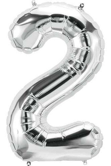 "NorthStar 14"" Number 2 Silver Uninflated Mini Shape Balloon"