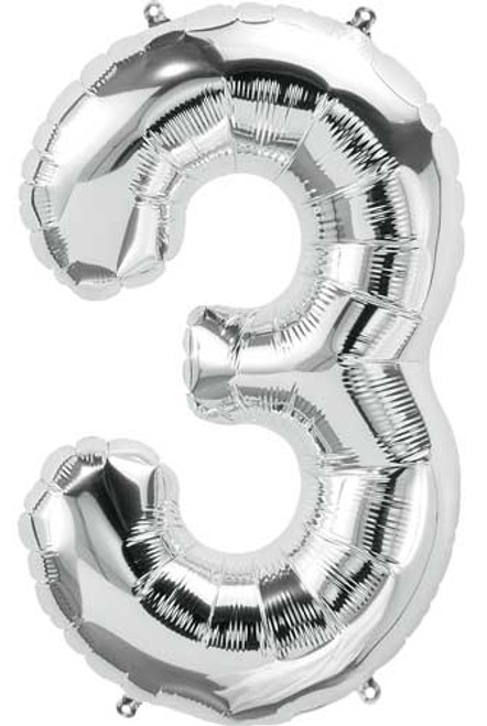 "NorthStar 14"" Number 3 Silver Uninflated Mini Shape Balloon"