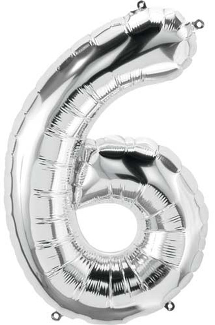 "NorthStar 14"" Number 6 Silver Uninflated Mini Shape Balloon"