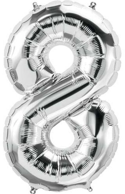 "NorthStar 14"" Number 8 Silver Uninflated Mini Shape Balloon"