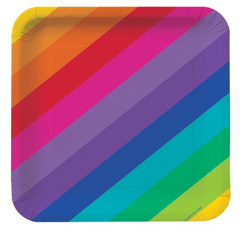 """Rainbow 7"""" Square Lunch Plates"""