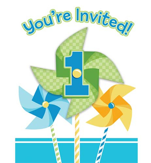 Turning One Boy Foldover Invitations