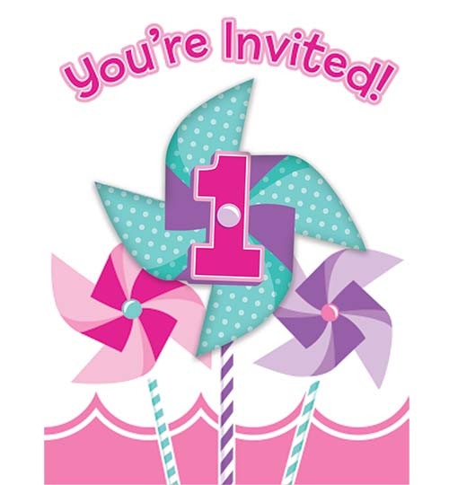 Turning One Girl Foldover Invitations