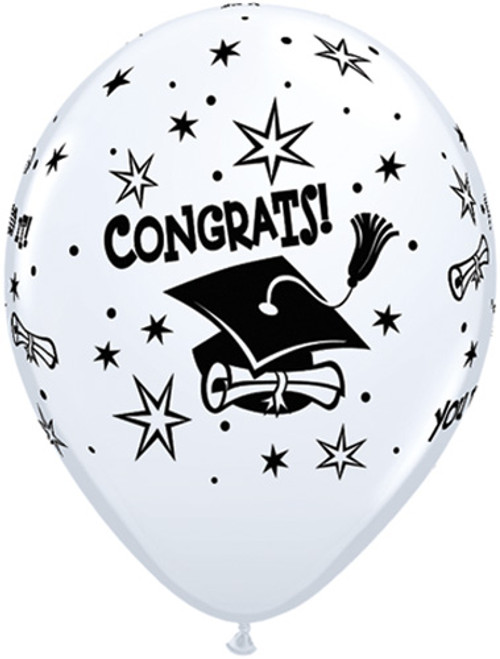 "11"" Graduation Hats & Stars White Latex Balloon"
