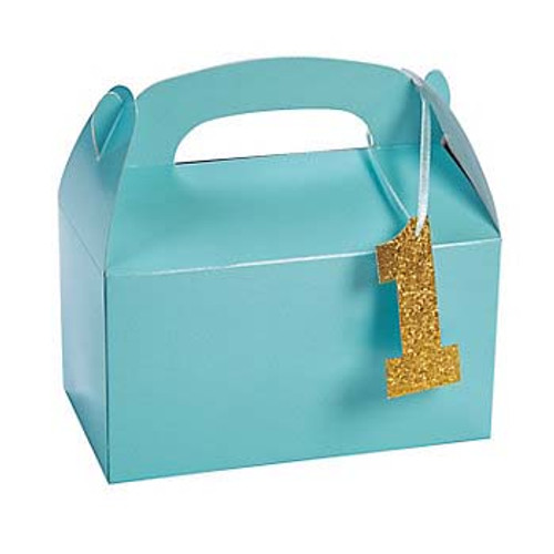 Light Blue 1st Birthday Treat Boxes