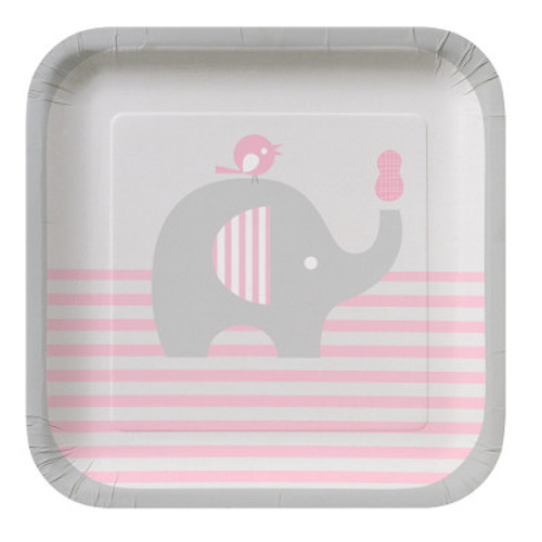 "Little Peanut Girl 7"" Square Lunch Plates"