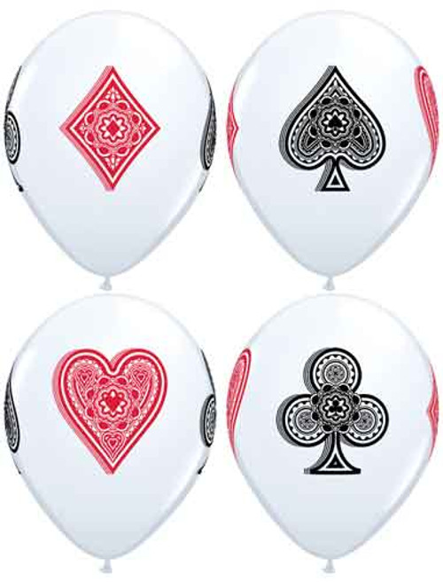 """11"""" Card Suits White Latex Balloon"""