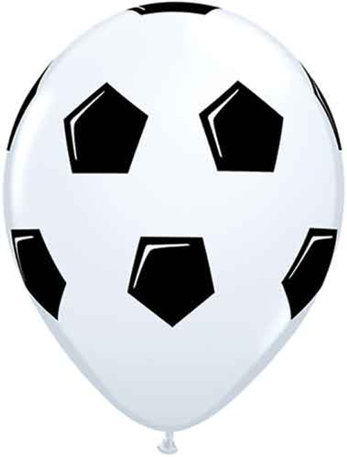 "11"" Soccer Ball White Latex Balloon"