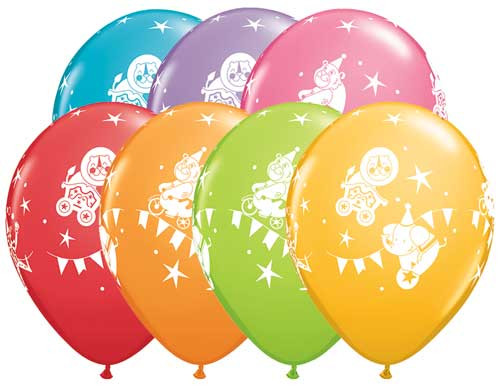 "11"" Circus Parade Latex Balloon Assortment"
