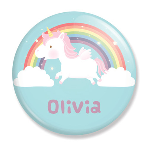 """2.25"""" Unicorn and Rainbow Personalized Button"""