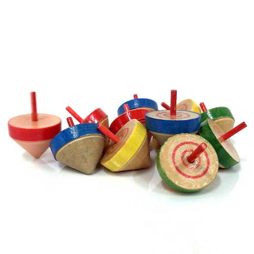 Mini Wooden Spinning Top 10pcs/pack
