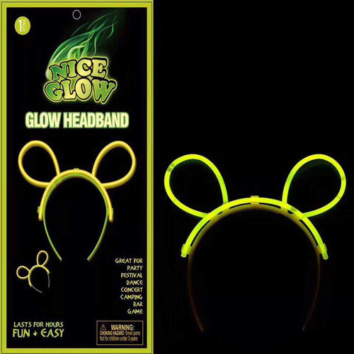 Glow Bunny Ears Headband Assorted Colors 1 set/pack