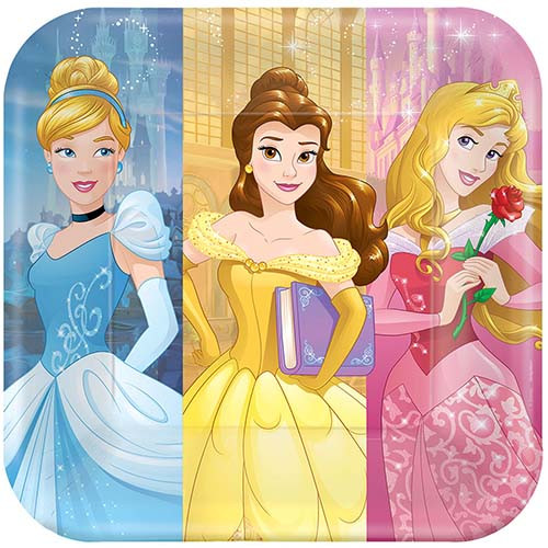 """Disney Princess Dream 9"""" Square Dinner Plates"""