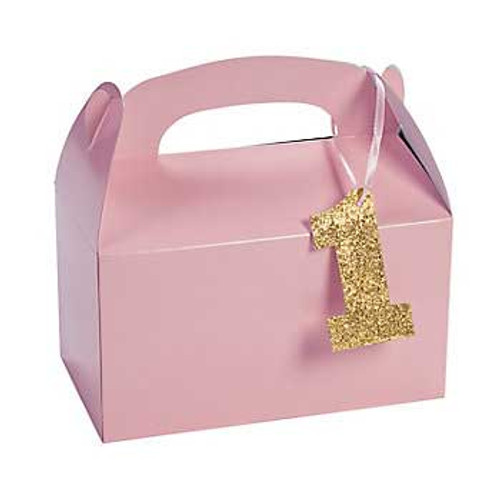 Light Pink 1st Birthday Treat Boxes