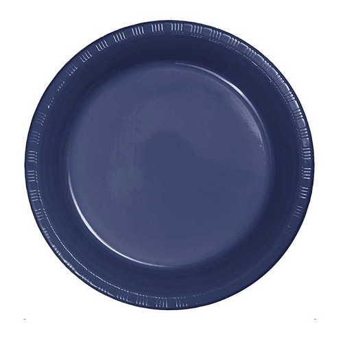 "Navy Blue 7"" Plastic Lunch Plates"