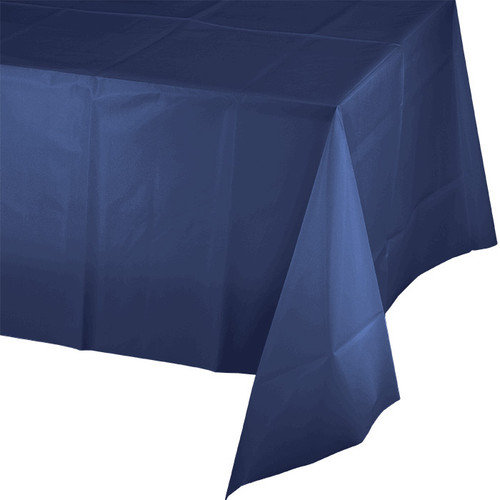 "Navy Blue Plastic 54""x 108"" Tablecover"