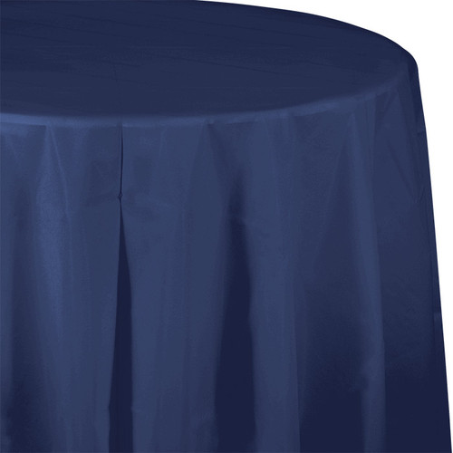 "Navy Blue 82"" Round Plastic Tablecover"