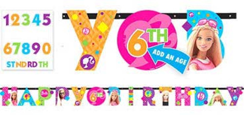 Barbie Add An Age Birthday Letter Banner Kit