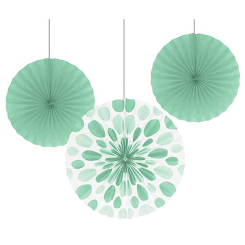 "Fresh Mint 12"" & 16"" Solid Polka Dot Paper Fans"